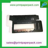 Rectángulo cosmético de papel de empaquetado cosmético impreso aduana de la cartulina con la ventana del PVC