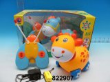 Plástico adorável 4-CH R/C Toy Car W/Lanterna & Music & Bateria (822907)