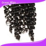 """"""" fechamento Kinky divisor médio do laço do cabelo humano da onda de Remy do Virgin 3.5*4 brasileiro (CL-060)"""