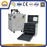 최고 판매 트롤리 알루미늄 회전 메이크업 트레인 상자 (HB-1305)