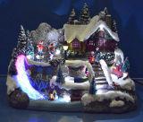 """Décoration de Noël 9 arbres de la résine """" boutique de vente scène avec chariot de déplacement et d'enfants, huit chansons de Noël"""