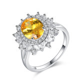 Boucle de pierre de Zirconia de vente en gros de bijou d'or blanc de modèle neuf