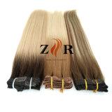 Pinza de pelo mongol drenada doble del color ligero en pelo humano