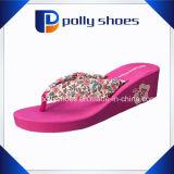 Платформа женщин высоким каблуком клина Flip флоп пляжа Slipers печатной платы
