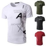 T-shirt de coton lavé par cru rond du collet des hommes avec l'impression faite sur commande