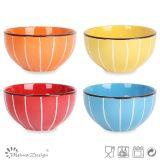 Glazed multicolore con White Line Ceramic Rice Bowl