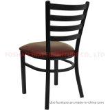ビニールのシートが付いているレストランの家具の梯子の背部金属の椅子