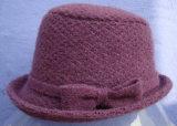 方法弓またはバケツの帽子ブラウンが付いているジャカードによって編まれるウールの帽子