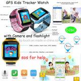 Nuevo reloj del perseguidor del GPS de los cabritos con la cámara y la linterna D26c