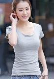 Camiseta de encargo del Spandex del algodón el 5% de la venta al por mayor el 95%