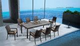 Деревянные Composited из алюминия и плетеная мебель патио с садом прямоугольник стол со стулом (YTA362-1&Заработано с начала года5363-1)