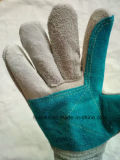 De gespleten Handschoenen van het Werk van het Leer met Katoenen Rug