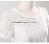 Женщины одевая повелительниц Blusas рубашек шифонового вязания крючком шнурка кофточки женских корейских покрывают верхние части пригонки белых кофточек рубашки тонкие