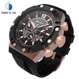 크로노그래프 스포츠 Stainles 강철 실리콘 악대 남자 손목 시계