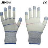 Перст усилил белые покрынные PU перчатки работы безопасности