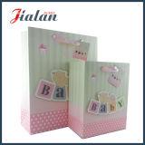 El empaquetado rosado barato de las compras del color modifica el bolso de papel del bebé para requisitos particulares 3D
