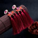 Orecchini del fiore fissate nuovo di modo retro cristallo delle donne a forma di della nappa