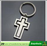 Diseño en forma de cruz mayorista en blanco Llavero de metal