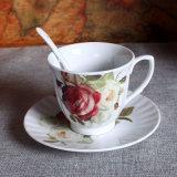 Insieme britannico della tazza di tè di Cina di osso di pomeriggio della tazza e del piattino di caffè di Cina di osso della tazza di caffè della porcellana