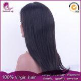 De seda negro natural cabello virgen peruana recta peluca de encaje completo