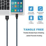 Быстро сместитесь нейлон быстрой зарядки Micro-USB 2.0 для кабеля USB