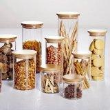صنع وفقا لطلب الزّبون [غلسّ بوتّل] طعام تخزين مرطبان زجاجيّة مع غطاء خيزرانيّ