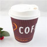 Tazze di carta stampate marchio del caffè caldo a perdere dell'ondulazione