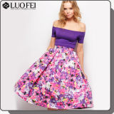 High-End Designer Long Floral Length Satin Aline Lady Skirt