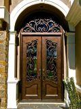 Изготовленный на заказ входная дверь ковки чугуна двойника обеспеченностью с транцем