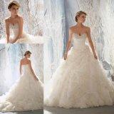 Katywellのウェディングドレス(1965年)の花嫁の玉が付くオーガンザのガウン