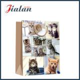 Bolso de papel laminado brillante del papel de arte de los gatos 128GSM que hace compras