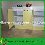 光沢度の高く黄色い食器棚ベース壁の食器棚のドアの食器棚