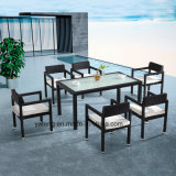 Tabella pranzante e presidenze del giardino esterno di alluminio con superiore da 6person (YT547)