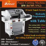 Hydraulische Seidenpapier-Ausschnitt-Maschine des Programm-Steuerelektrische automatische Guillotine-Scherblock-A2 A3 A4