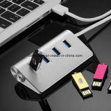 Charmant Hub USB 2.0 en métal, mini concentrateur USB, ordinateur avec concentrateur USB 4 ports