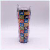 Tasse de voyage en plastique à double paroi avec insert de papier (SH-PM13)