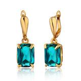 18K Gp carré bleu Zircon Mode bijoux Dangle Earring