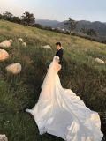 Satin robe de mariée à manchon long robe de mariée