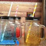 vaso di muratore della bottiglia di vetro 250ml/350ml/450ml con la protezione di disegno della frutta