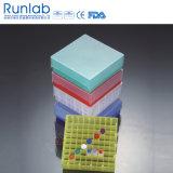 Caixa de armazenamento compacta Microtube com 100 poços ou 81 poços