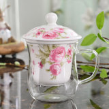 Tazza di tè di vetro di Borosilicate con i regali di vetro di ceramica della tazza di tè di Infuser
