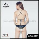 Damen binden zurück gestrickten Muster Striped Dreieck-Bikini