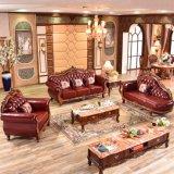 يعيش غرفة ثبت أثاث لازم مع خشبيّة جلد أريكة ([619ر])