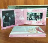 Tarjeta de visita video del papel del folleto del LCD de la invitación del bajo costo tarjeta de felicitación video de la pantalla de 7 pulgadas