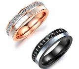 De zwarte en nam de Gouden Ringen van de Paren van de Belofte van de Liefde van het Zirkoon van Trouwringen Geplaatst de Trouwring van Allicance van het Staal van het Titanium toe