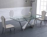 По современному новая конструкция из нержавеющей стали обеденный стол для столовой