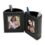 Sostenedor plástico de encargo de la pluma con el marco de la foto y el sostenedor del clip