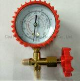 プラスチックハウジングおよび黄銅のT継手のステンレス鋼の圧力計との70mm