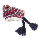 編みこみのふさおよび内部の羊毛の帽子が付いている100%Acrylicによって編まれる耳の折り返しの帽子