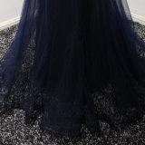 Applique сини военно-морского флота отбортовывая платье вечера Mermaid